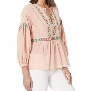 Lucky Brand Embroidered Flutter Boho Peasant Top